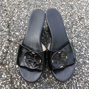 Tory Burch Patti black wedge sandals size 9.